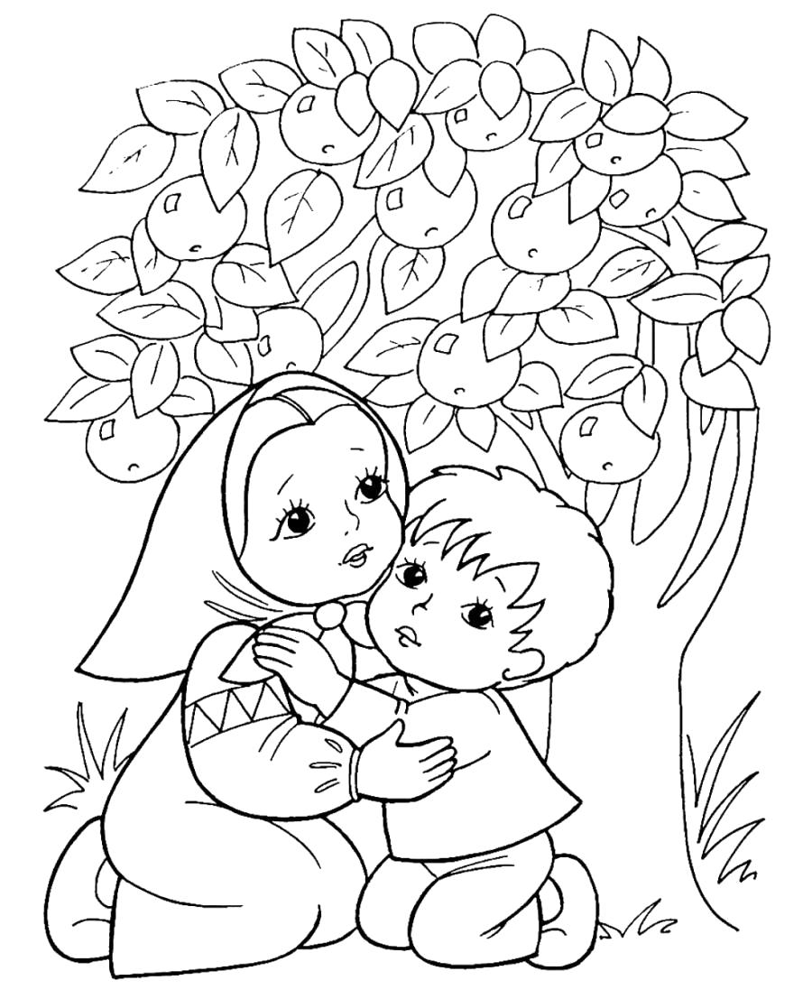 Раскраска Дети прячутся от гусей под яблонькой. Скачать .  Распечатать