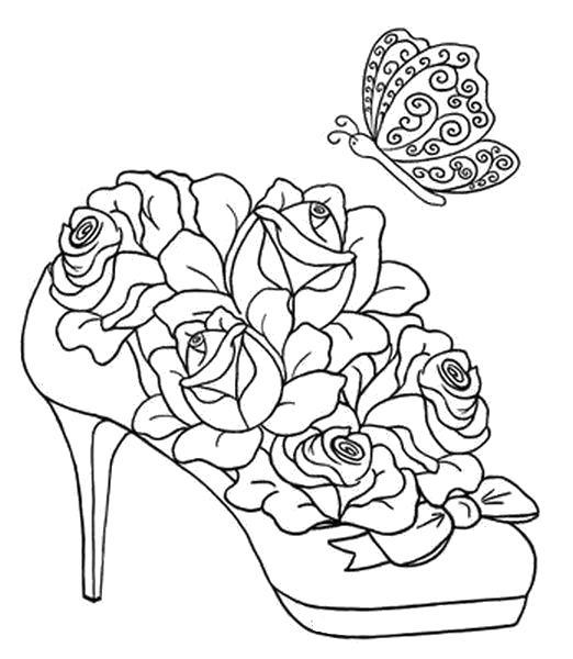 Раскраска Туфелька розы и бабочка. Рисунок для росписи. Скачать .  Распечатать