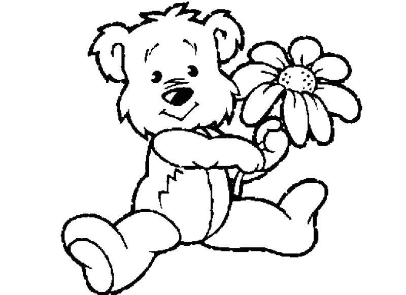 Раскраска Мишка с цветком. Скачать .  Распечатать