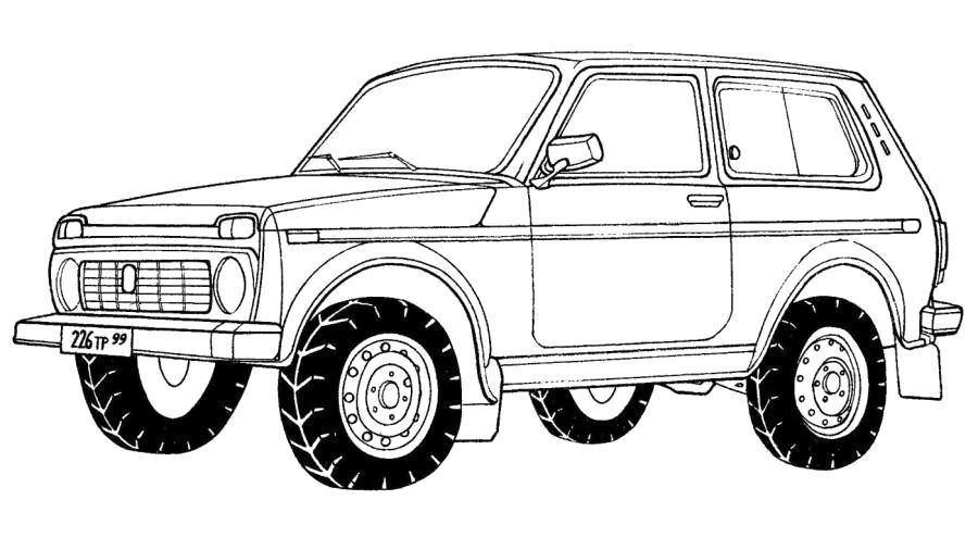 Раскраска Машина внедорожник- Россия . Скачать .  Распечатать