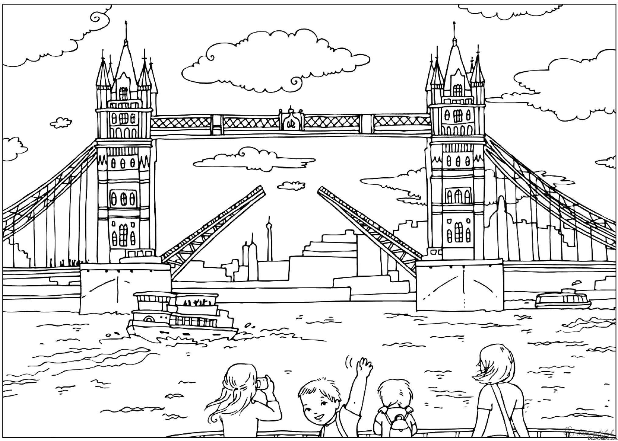 Раскраска  путешествия мост , англия. Скачать .  Распечатать