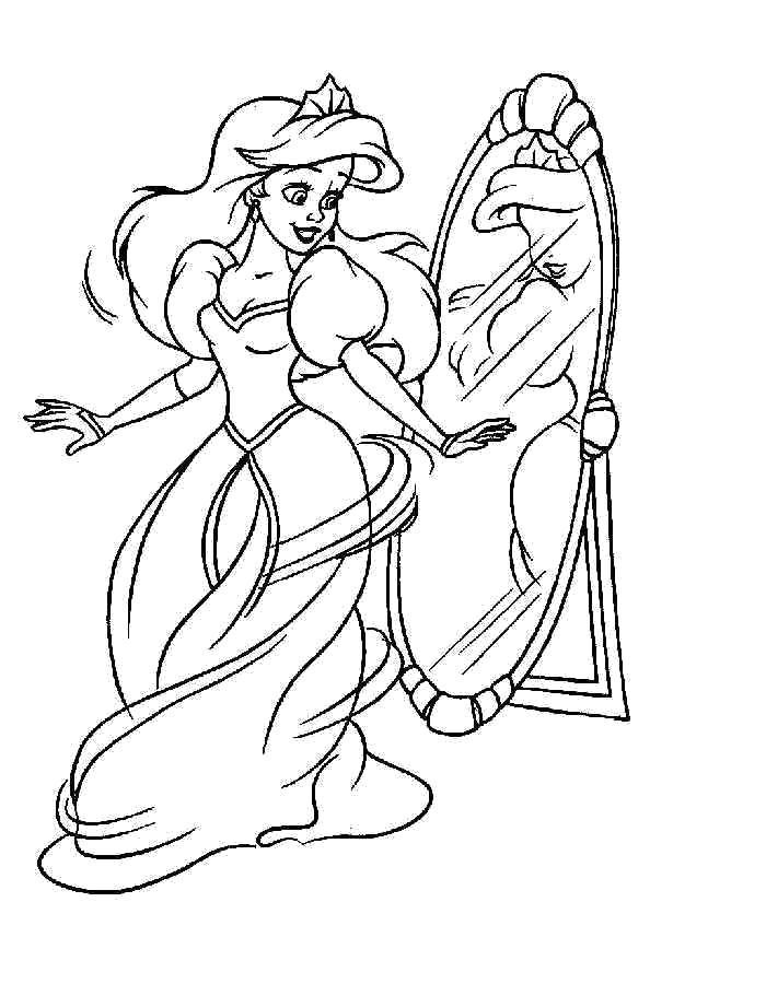 Раскраска  Принцессы Диснея - Ариэль. Скачать .  Распечатать