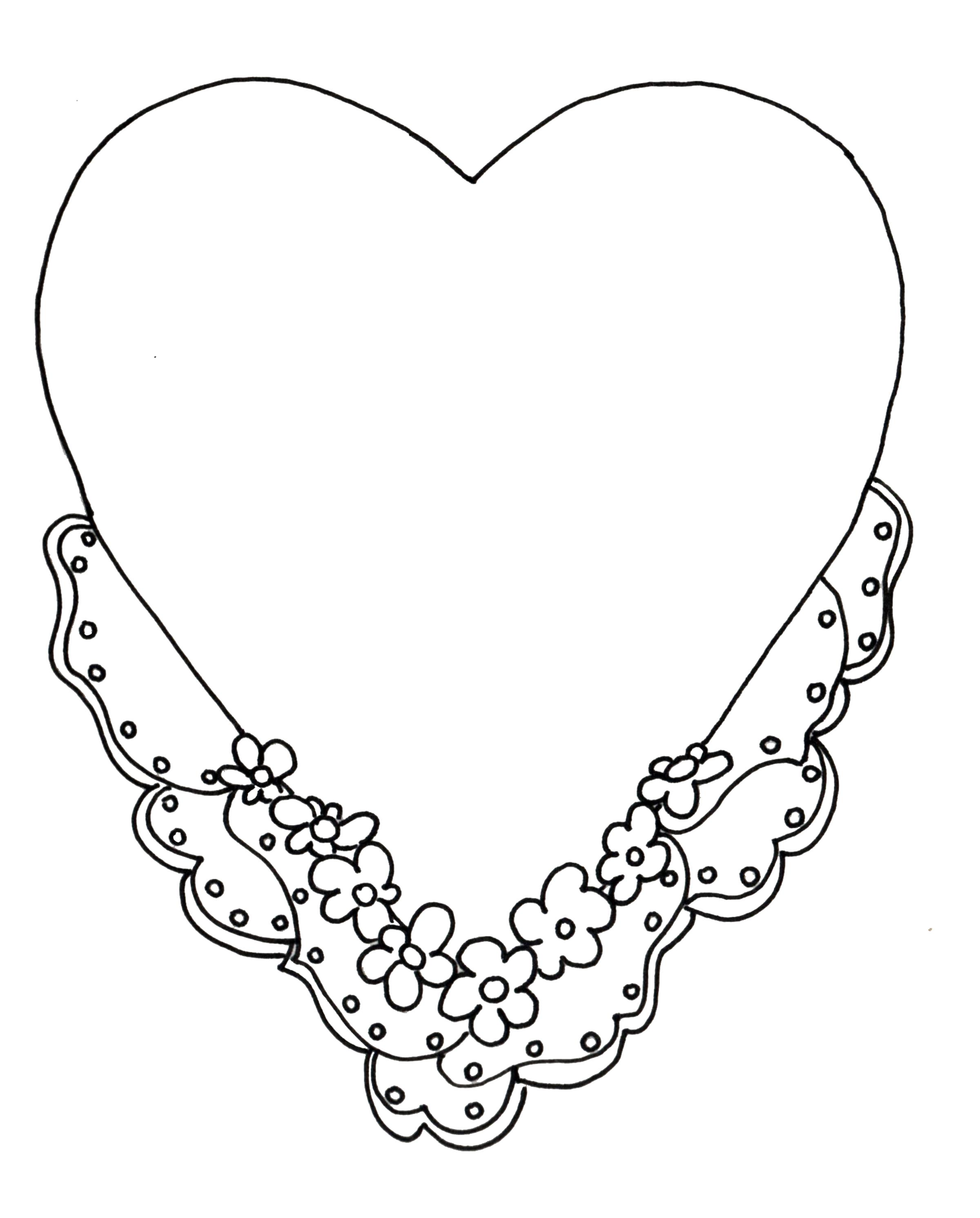 Раскраска  шаблоны сердечек для вырезания  сердце с цветочками для вырезания из бумаги. Скачать сердце.  Распечатать сердце