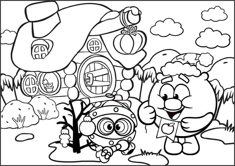 Раскраска Копатыч и Биби на зимней прогулке. Скачать Биби, Копатыч.  Распечатать Смешарики