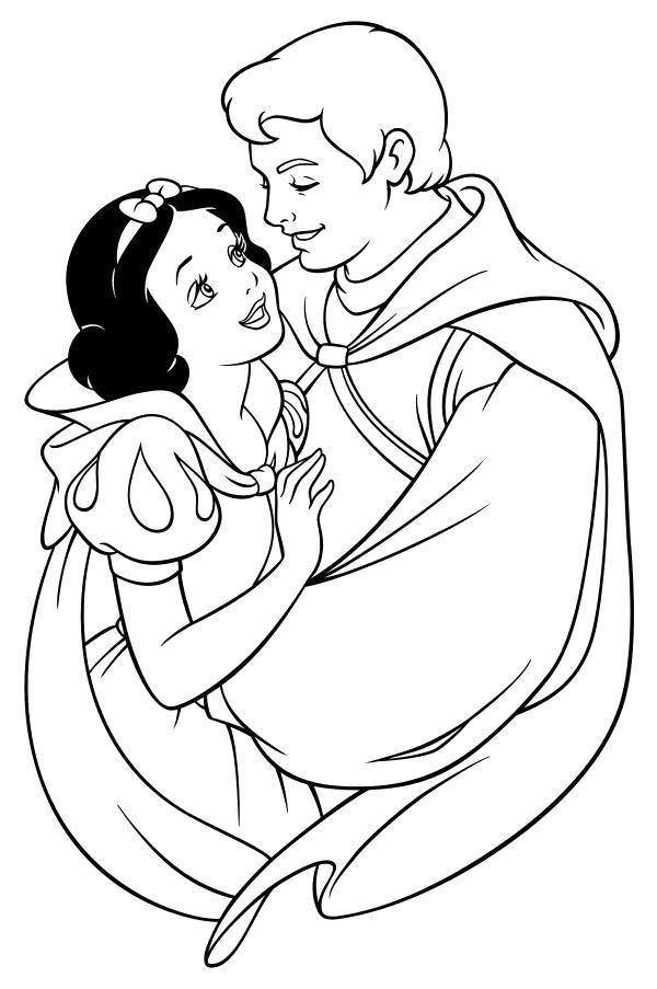 Раскраска  Принц Фердинанд обнимает Белоснежку. Скачать .  Распечатать