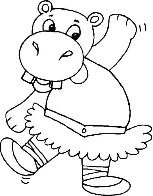 Раскраска бегемот танцует. Скачать бегемот.  Распечатать Дикие животные