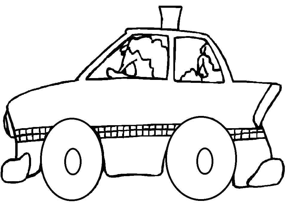 Раскраска Машинка такси. Скачать .  Распечатать