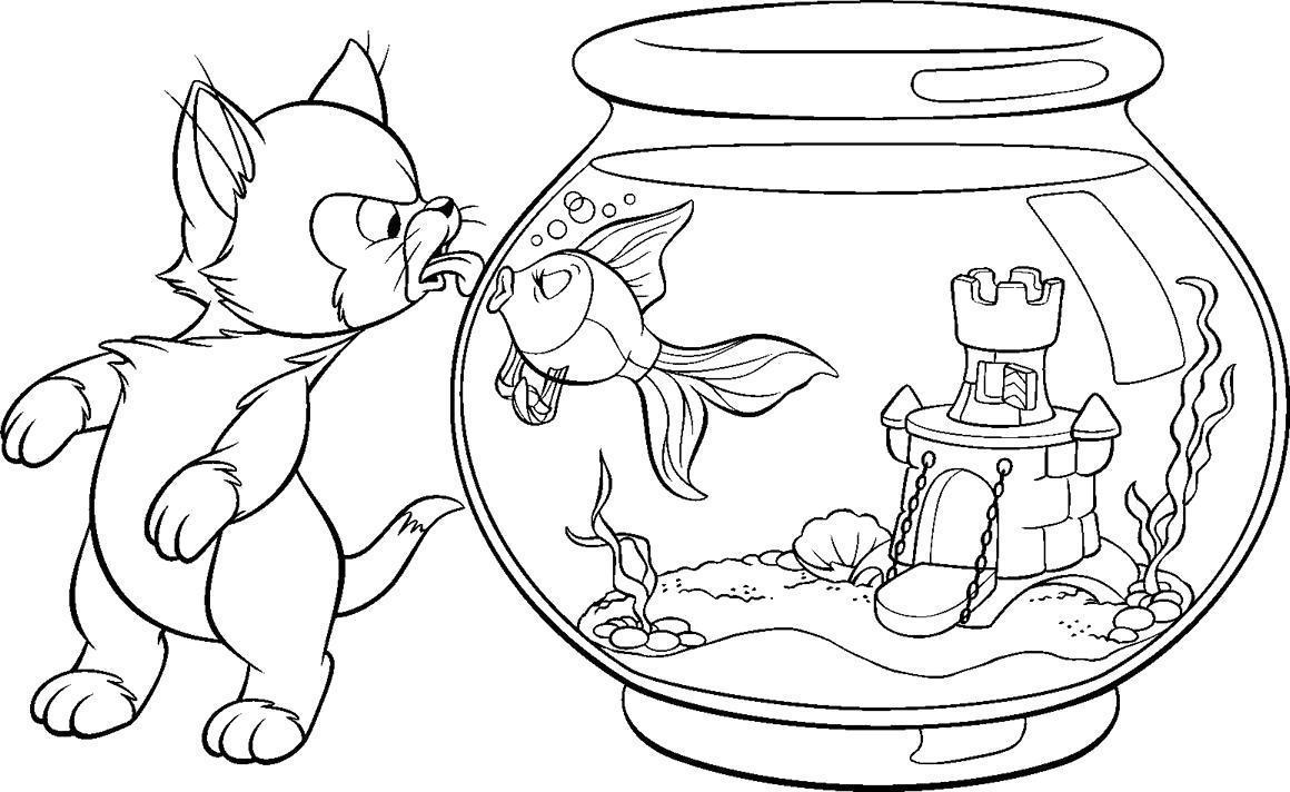 Раскраска Кот и рыбка. Скачать .  Распечатать