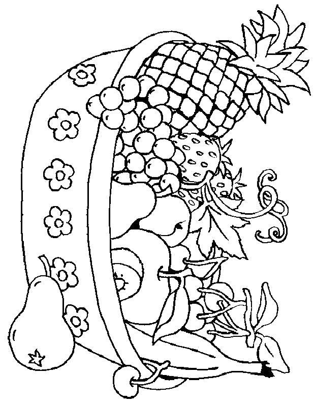 Раскраска Миска с фруктами. Скачать .  Распечатать
