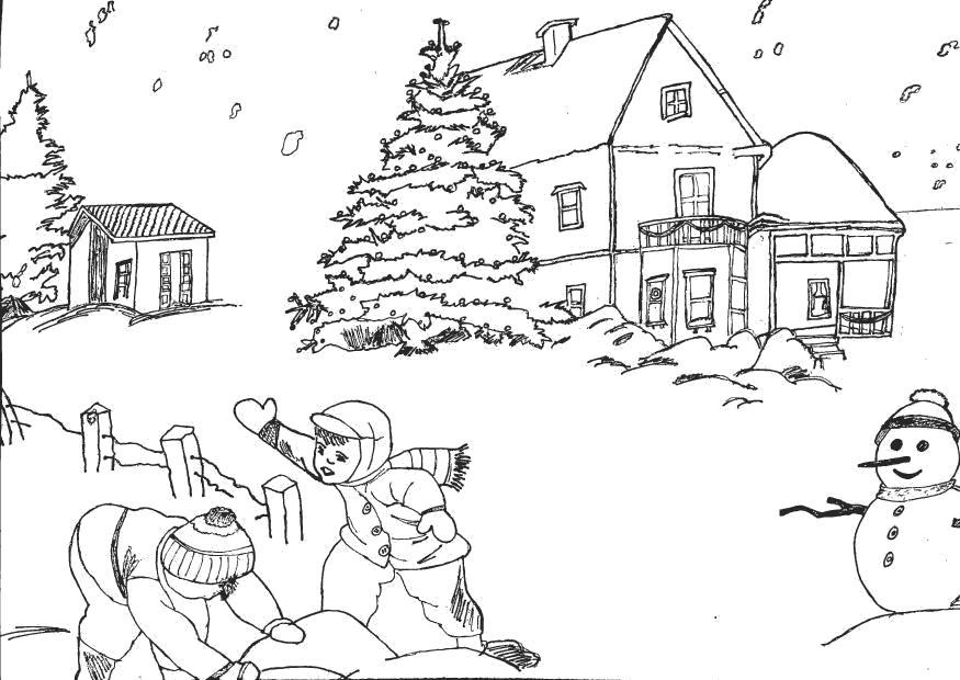 Раскраска Распечатать раскраску зима. Дети играют в снегу. Слепили снеговика. Скачать .  Распечатать