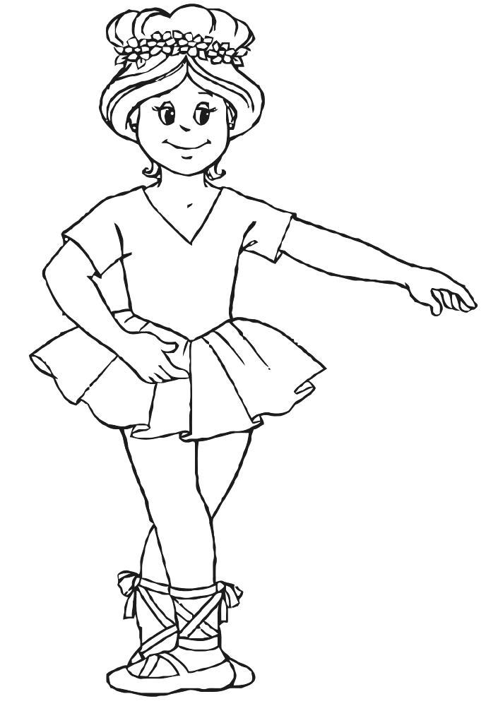 Раскраска девочка занимается балетом. Скачать Лето.  Распечатать Лето