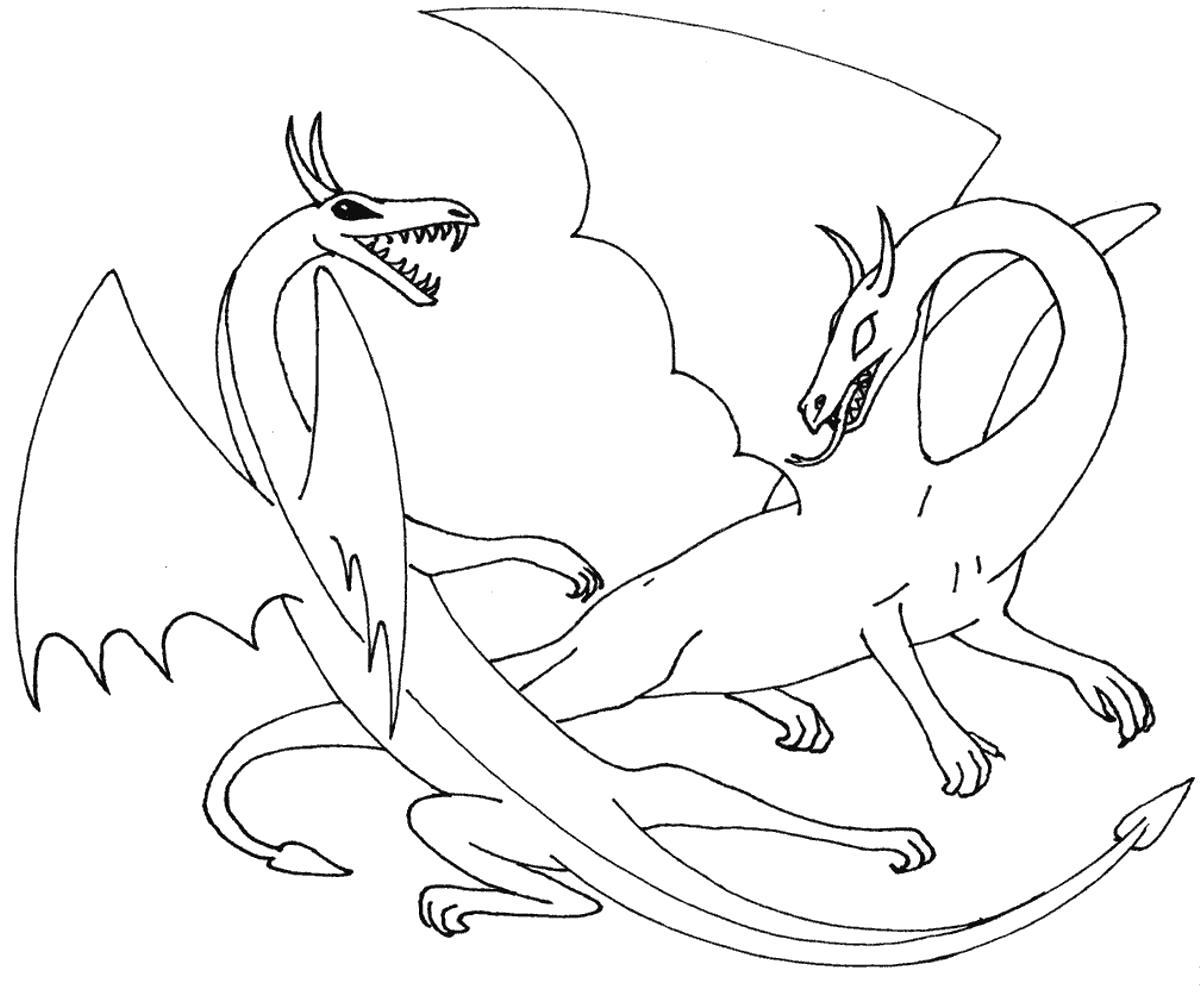 Раскраска  для мальчиков - драконы. Скачать дракон.  Распечатать мифические существа