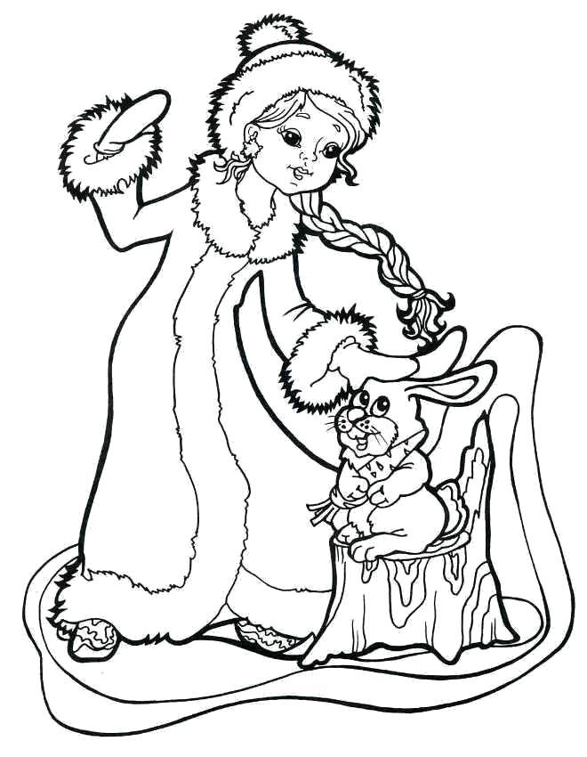 Раскраска Снегурочка в лесу с зайцем.. Скачать Снегурочка.  Распечатать Новый год