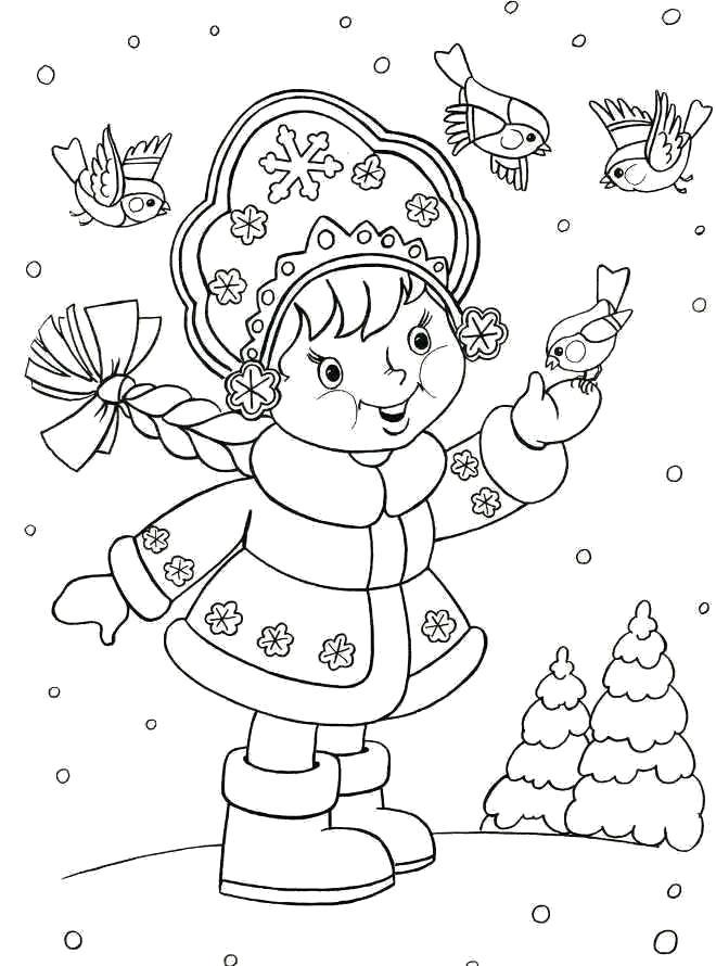 Раскраска Снегурочка кормит птиц. Скачать Снегурочка.  Распечатать Новый год