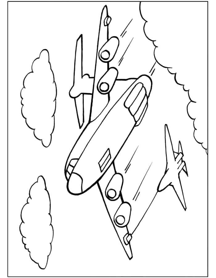 Раскраска Самолёт, шлейф от самолета, . Скачать самолет.  Распечатать самолет