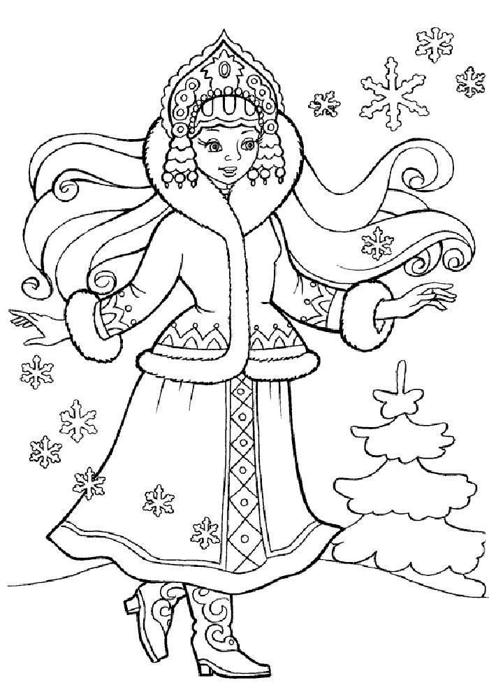 Раскраска Снегурочка со снежинками. Скачать новогодние.  Распечатать новогодние