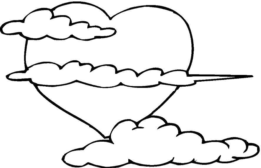 Раскраска Сердце и облака. Скачать облако.  Распечатать облако