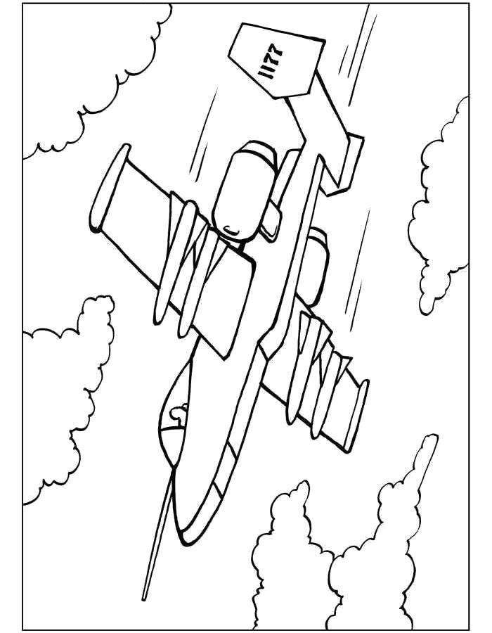 Раскраска Самолёт пикирует. Скачать самолет.  Распечатать самолет