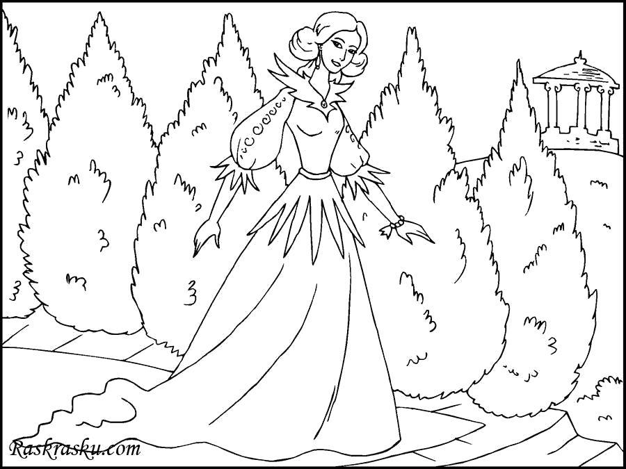 Раскраска Принцесса в дворцовом саду. Скачать принцесса.  Распечатать принцесса