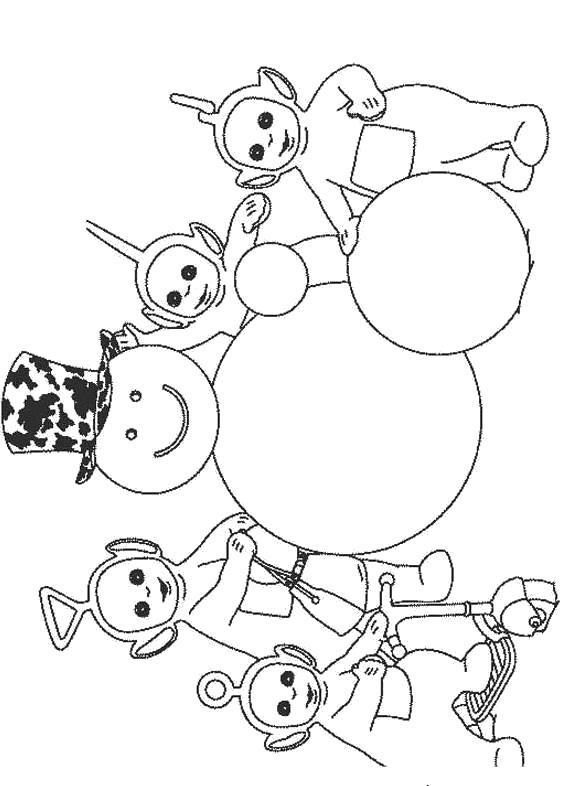 Раскраска  Телепузики со снеговиком. Скачать Телепузики.  Распечатать Телепузики