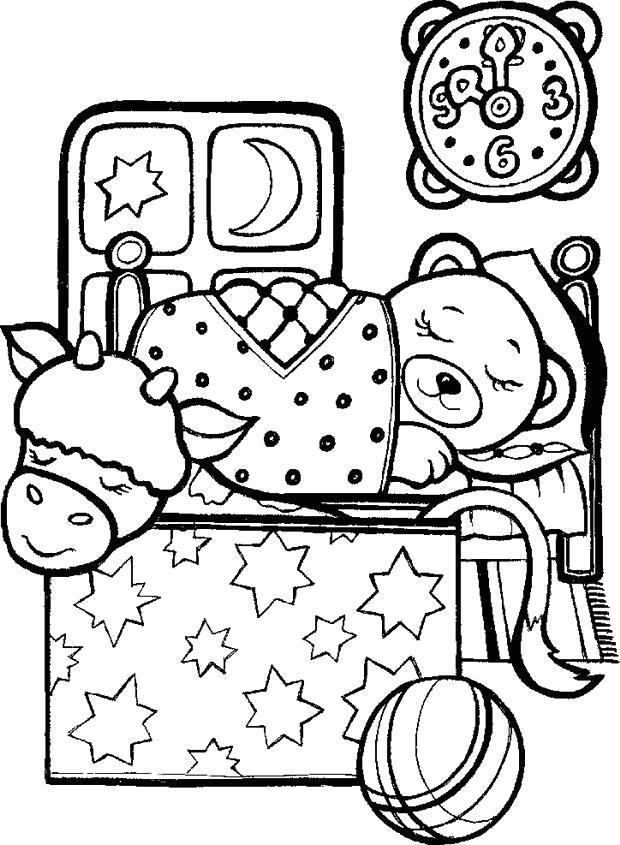 Раскраска Спящий мишка. Скачать .  Распечатать