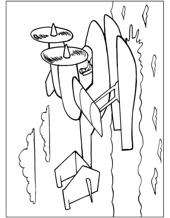 Раскраска Самолёт с лыжами. Скачать самолет.  Распечатать самолет