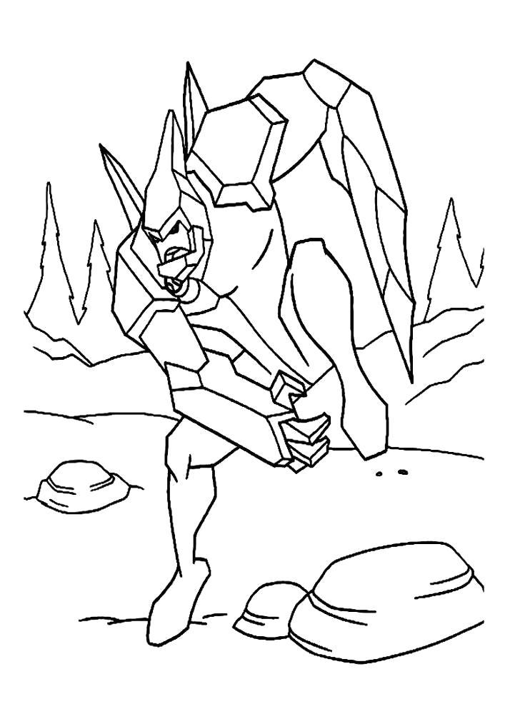 Раскраска картинки Бен 10, Кевин превратился в злодея. Скачать Бен 10.  Распечатать Бен 10