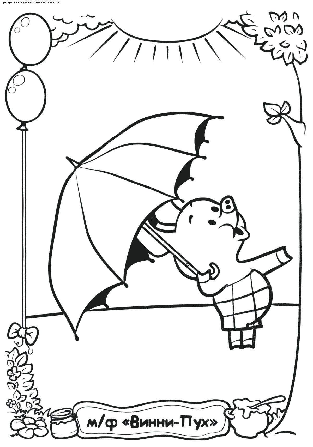 Раскраска  Пятачок под зонтиком.  Кажется дождь собирается, поросенок Пятачок  для детей из мультфильма. Скачать Пятачок.  Распечатать Пятачок