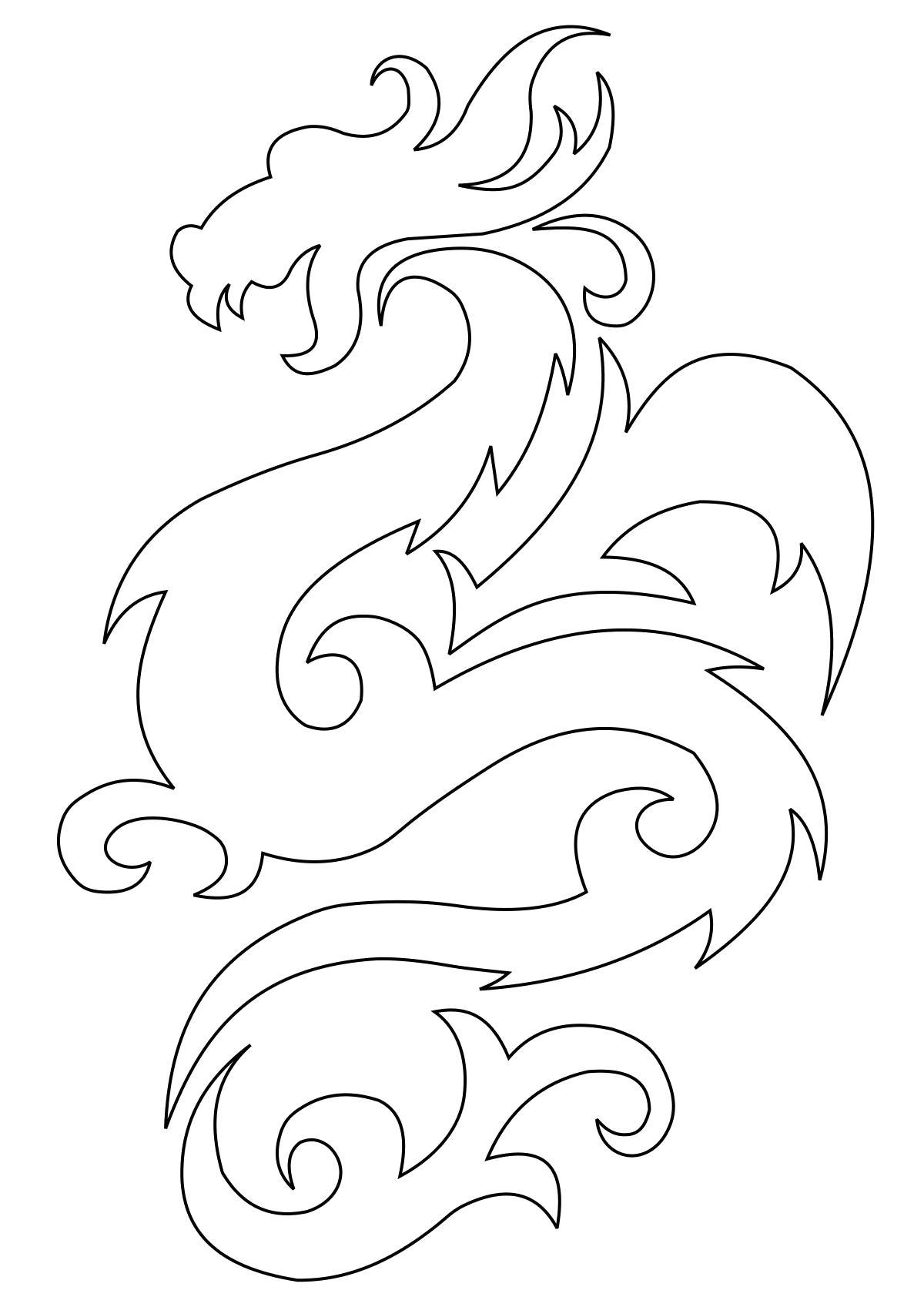 Раскраска рисунки японских драконов. Скачать дракон.  Распечатать мифические существа