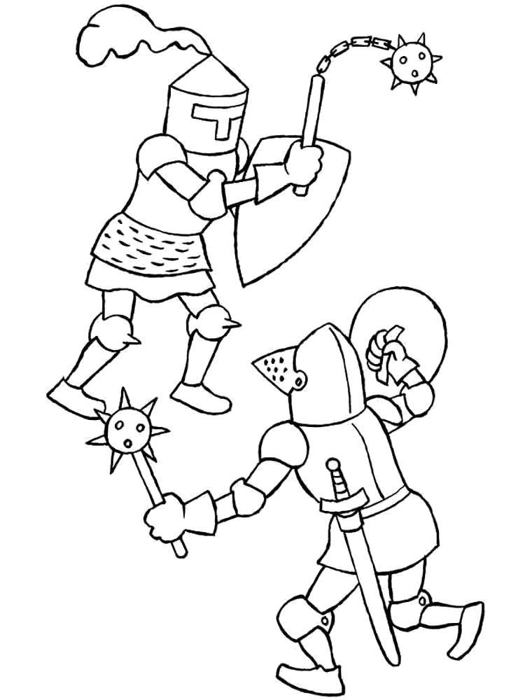 Раскраска Рыцари в схватке. Скачать рыцари.  Распечатать рыцари