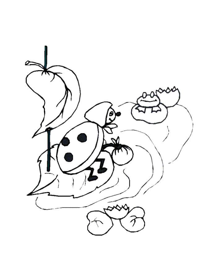 Раскраска  насекомые божья коровка на лодке из листиков плывет по пруду. Скачать Божья коровка.  Распечатать Насекомые