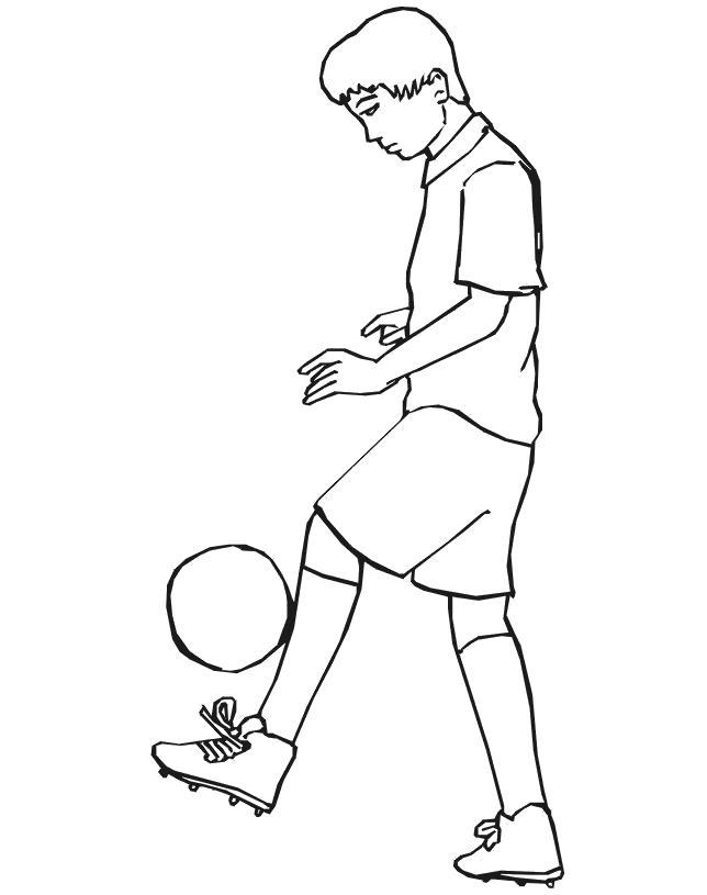 Раскраска  Футбол футбол, мяч, игрок, набивает. Скачать Футбол.  Распечатать Футбол