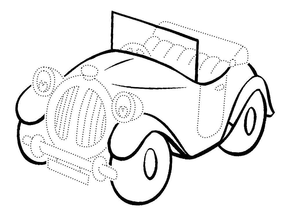 Раскраска Обвести по точкам картинки машины и раскрасить их. Скачать Машины.  Распечатать Машины