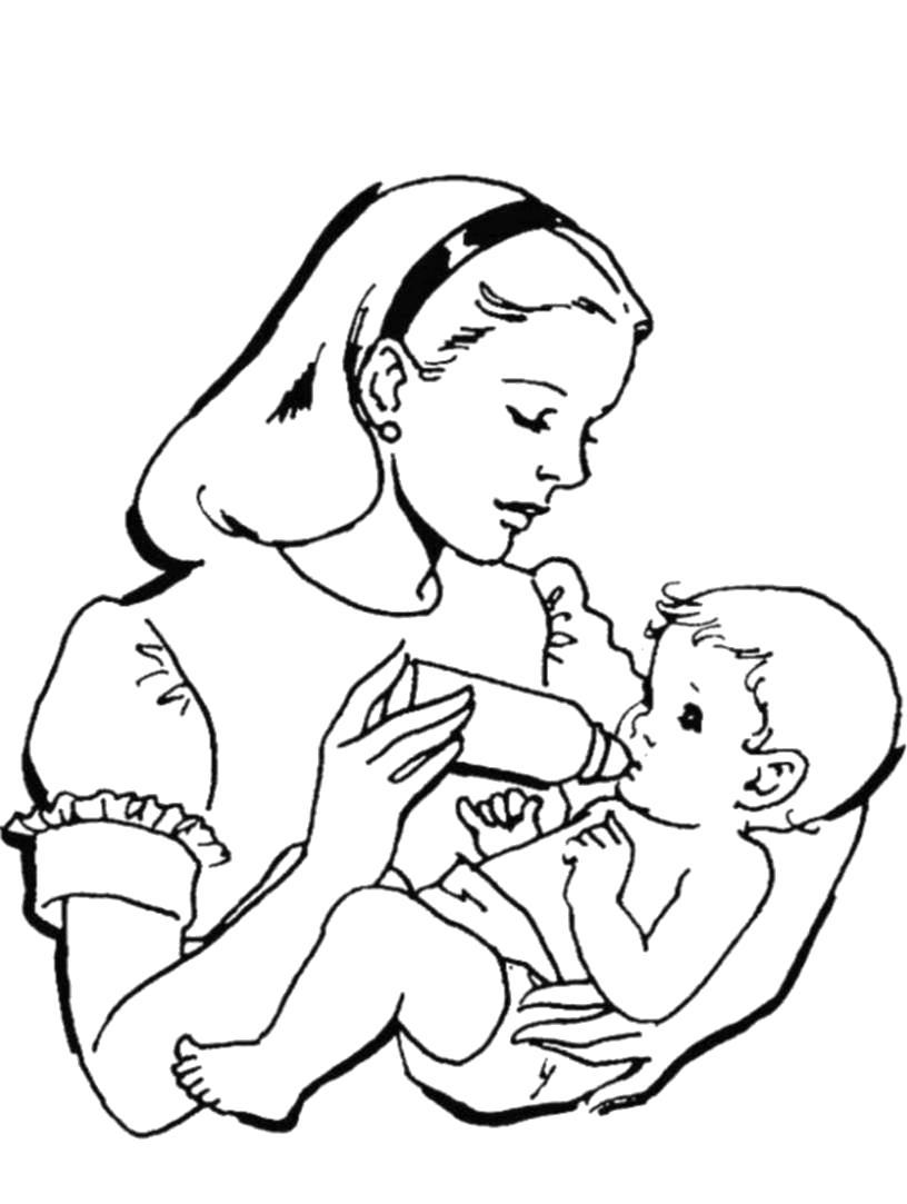 Раскраска Мама кормит младенца. Скачать .  Распечатать