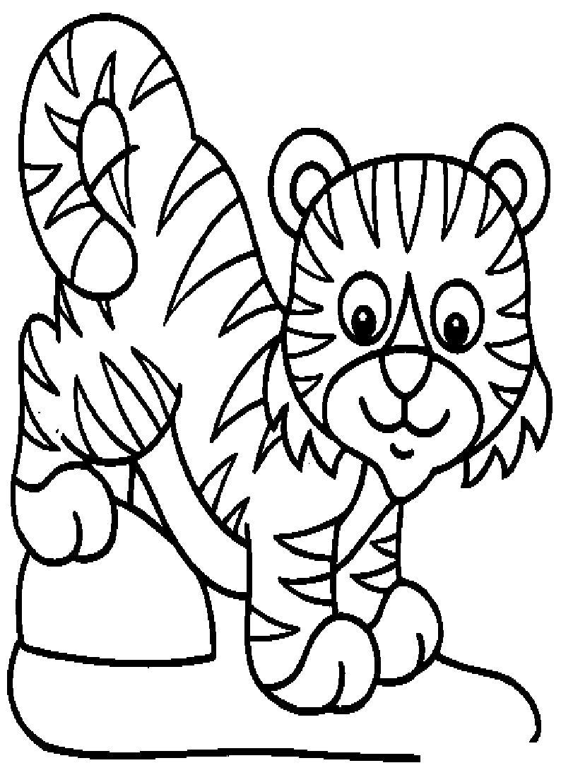Раскраска Маленький тигренок. Скачать Тигр.  Распечатать Дикие животные
