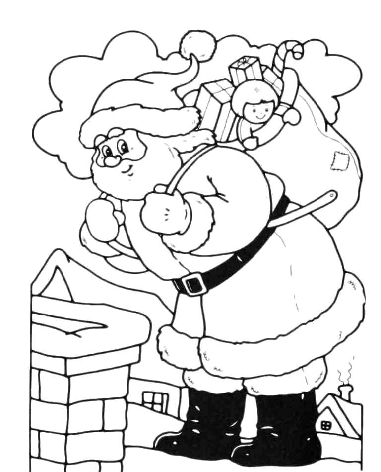 Раскраска Дед мороз лезет в трубу с подарками.. Скачать Дед мороз.  Распечатать Новый год