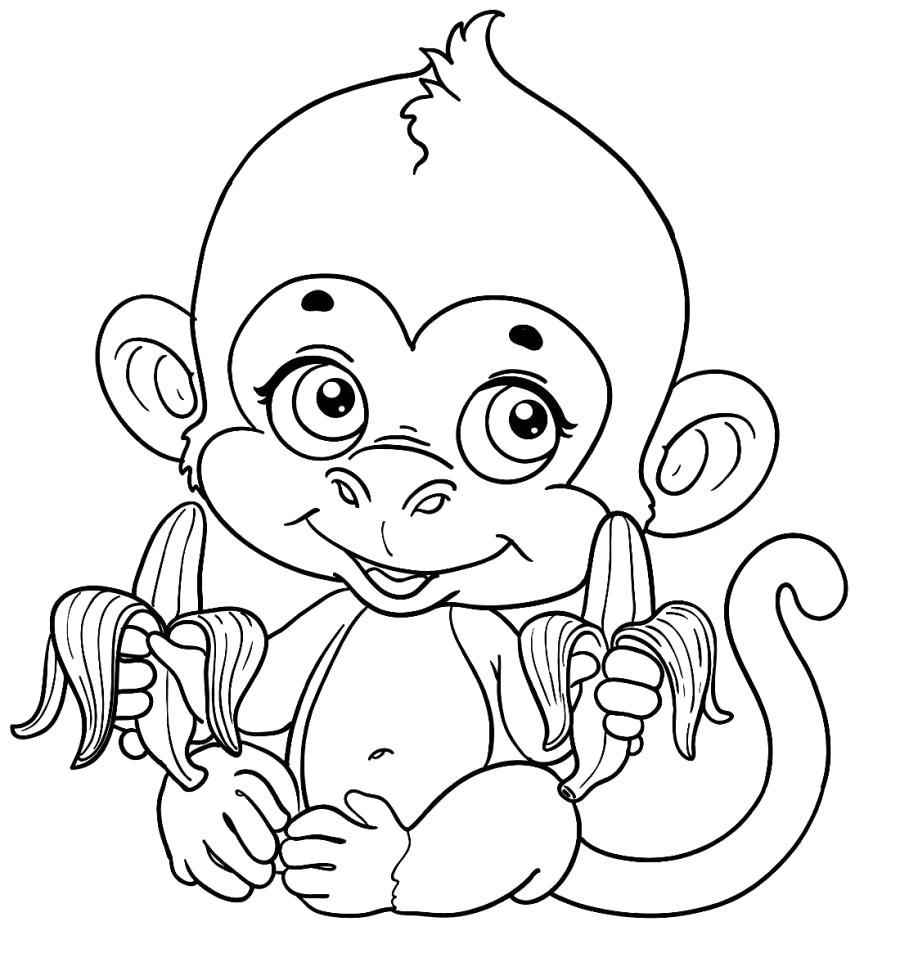 Раскраска Обезьяна и два банана . Скачать обезьяна.  Распечатать Дикие животные