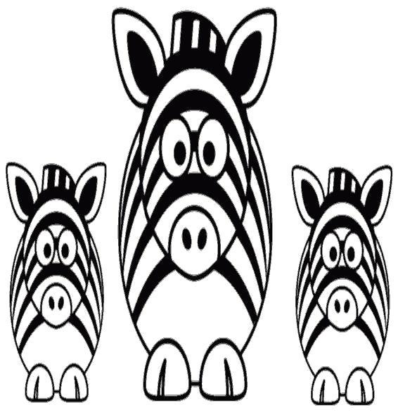 Раскраска Три прикольные зебры.. Скачать зебра.  Распечатать Дикие животные