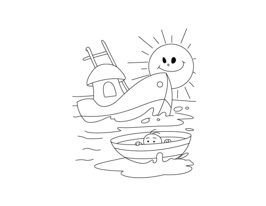 Раскраска  кораблик детская. Скачать Кораблик.  Распечатать Кораблик