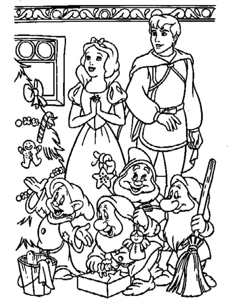 Раскраска  принцесса Белоснежка и семь гномов. Скачать принцесса.  Распечатать принцесса