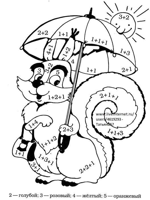 Раскраска математическая  с примерами.. Скачать Сложение.  Распечатать Математические раскраски