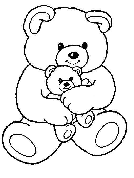 Раскраска Мишки. Скачать Тедди.  Распечатать Тедди