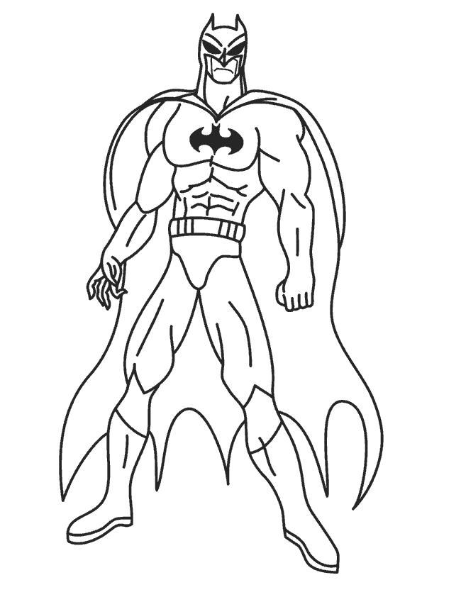 Раскраска Супергерой . Скачать Бэтмен.  Распечатать Бэтмен