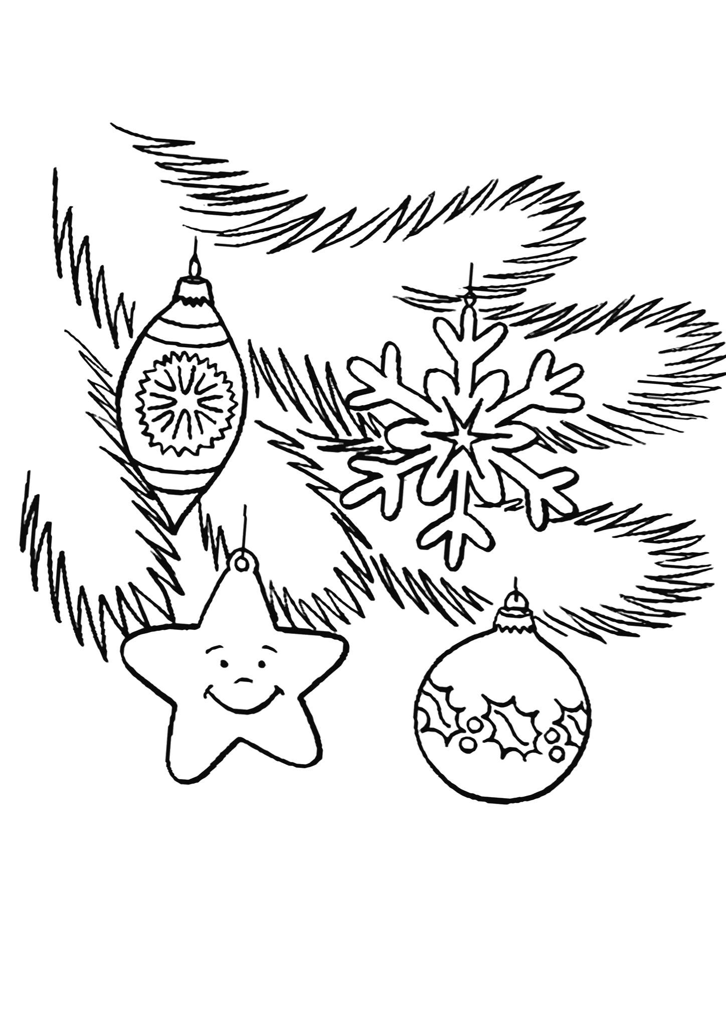 Раскраска Веточка елки. Скачать Елка.  Распечатать Новый год