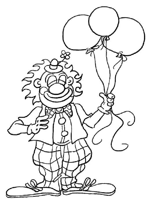 Раскраска Полетели вверх!. Скачать клоун.  Распечатать клоун