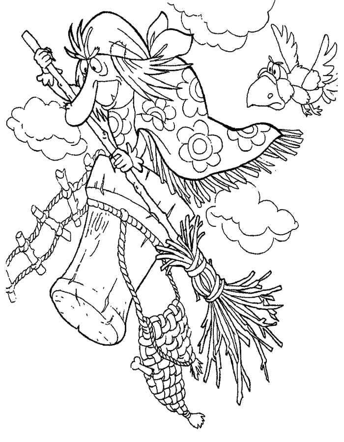 Раскраска  Баба Яга в ступе и ворона. Скачать .  Распечатать