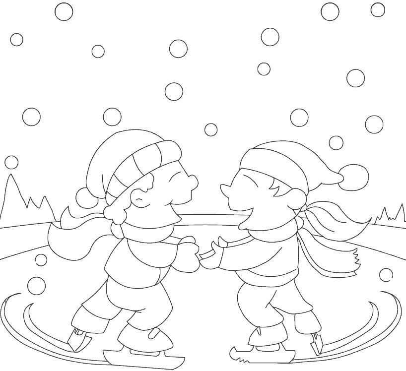 Раскраска дети на коньках. Скачать Фигурное катание.  Распечатать Фигурное катание
