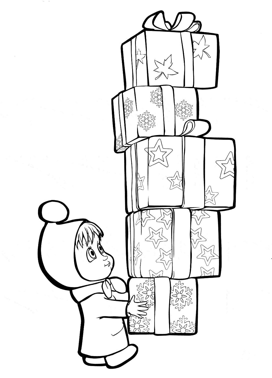 Раскраска маша с подарками. Скачать маша.  Распечатать Маша и медведь