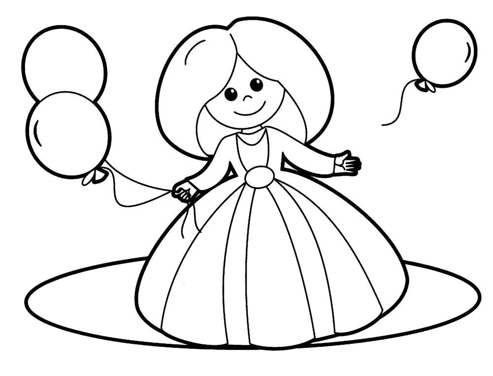 Раскраска  кукла с шарами. Скачать кукла.  Распечатать кукла