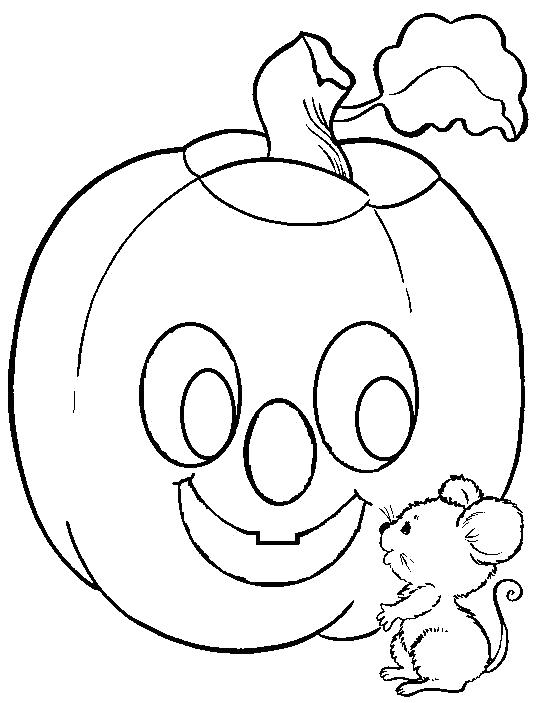 Раскраска Мышка у тыквы. Скачать тыква на хэллоуин.  Распечатать Хэллоуин
